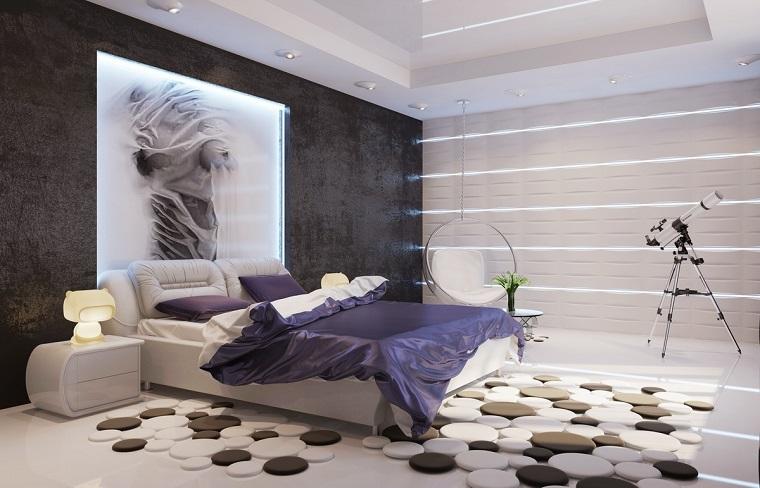 arredamento contemporaneo camera letto tappeto design
