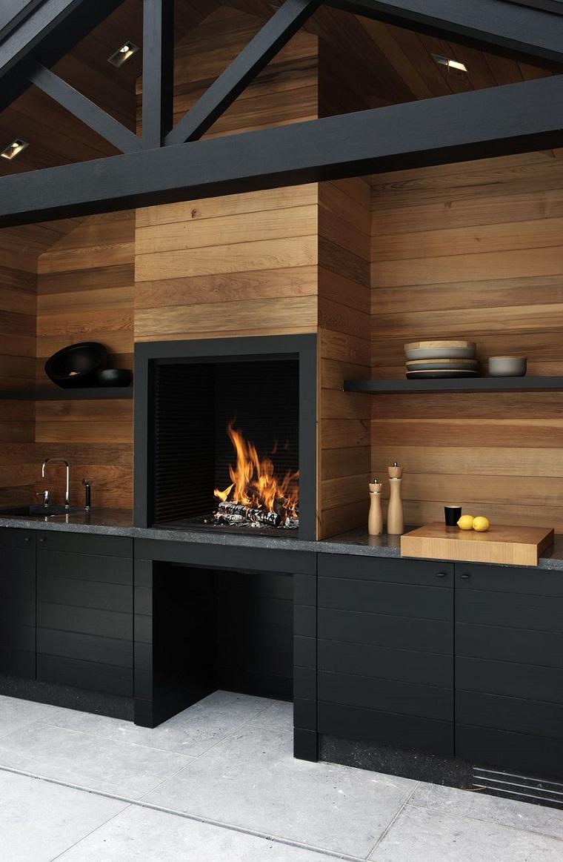 arredamento cucina aria aperta design moderno inserti legno