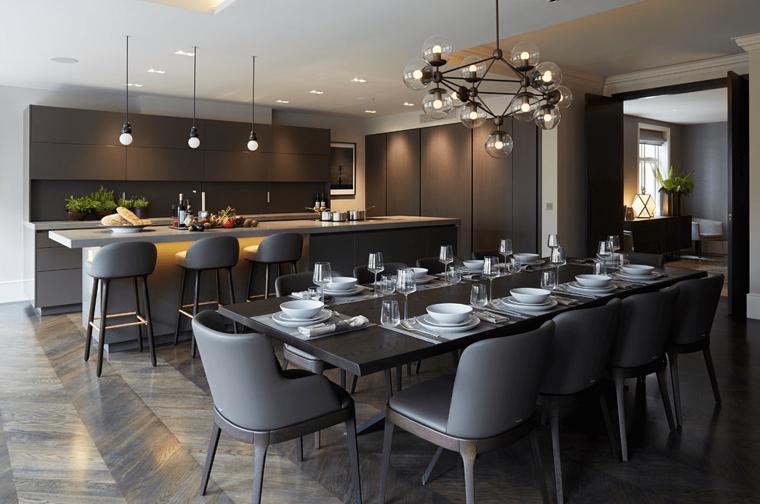 arredamento cucina design moderno pareti grigie