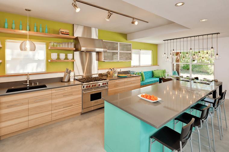 arredamento cucina stile moderno parete colore giallo