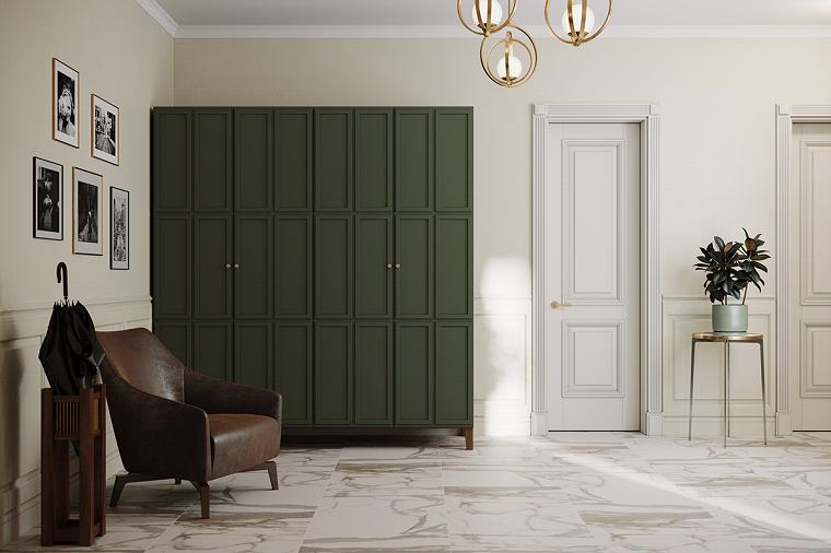 arredamento entrata appartamento corridoio con pavimento in marmo armadio con ante verdi
