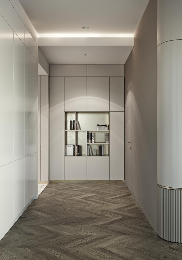 arredamento entrata appartamento mobile armadio a muro con specchio pavimento in parquet