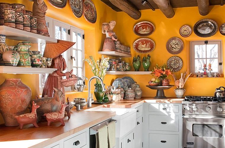 arredamento etnico cucina pareti ocra