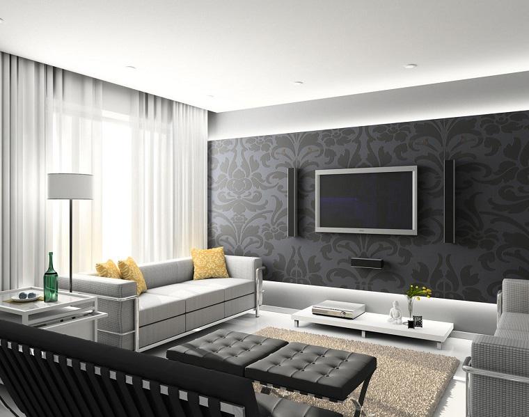 arredamento moderno design lineare parete decorata