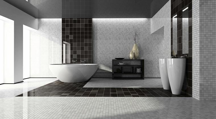 arredamento moderno parete pavimento piastrelle bianche nere
