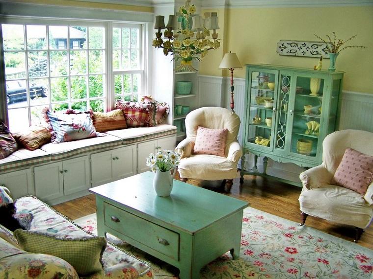 arredamento provenzale piccolo soggiorno mobili color pastello
