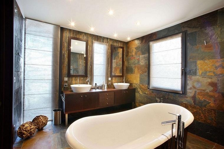 arredamento rustico bagno pareti pavimento pietra