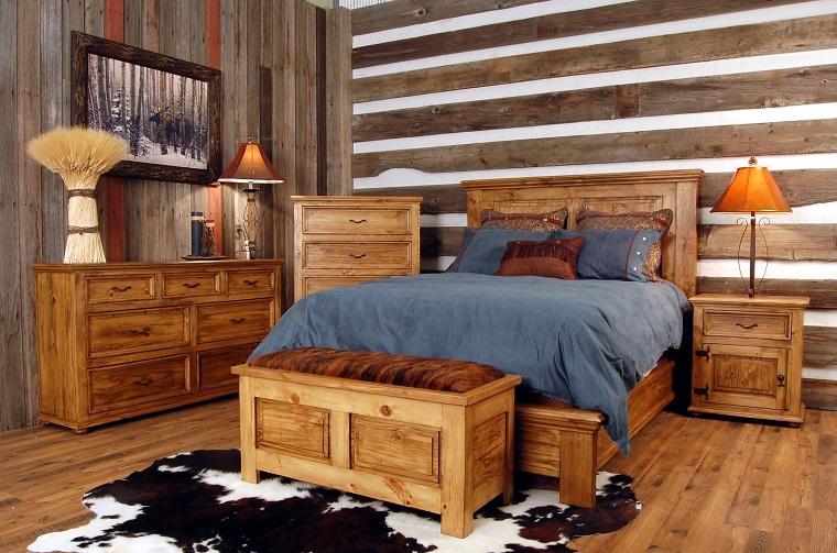 arredamento rustico camera letto pareti soffitto mobilio legno