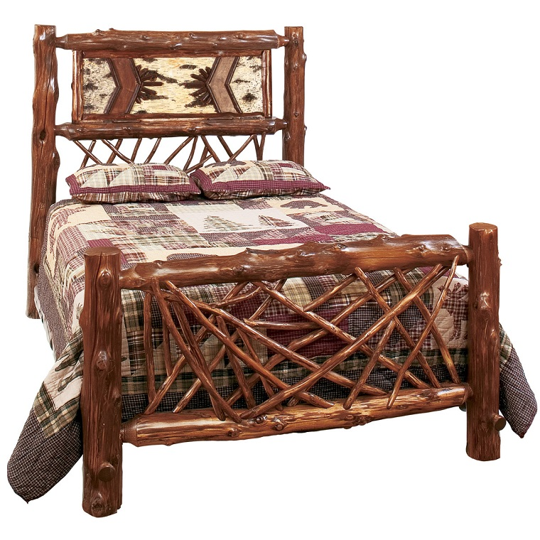 arredamento rustico letto legno decorato