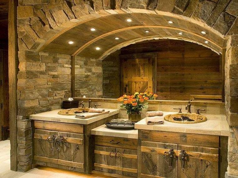 Arredamento rustico 24 idee calde ed accoglienti per ogni stanza della casa - Bagno rustico in legno ...