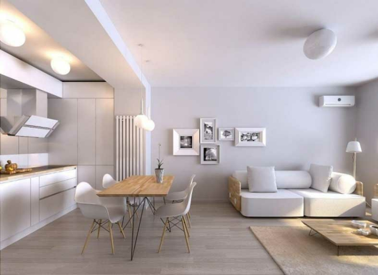 Arredamento Moderno Elegante : Elegante arredamento moderno con pareti bianche e pavimenti in