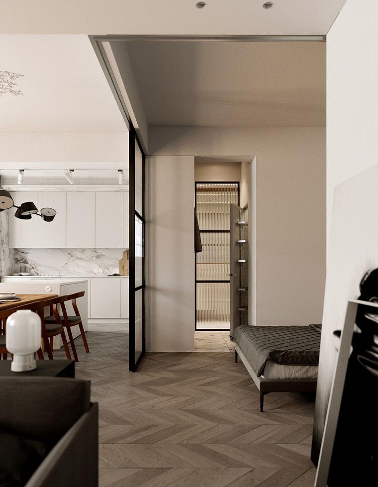 arredare appartamento piccolo camera da letto open space parete divisoria in vetro