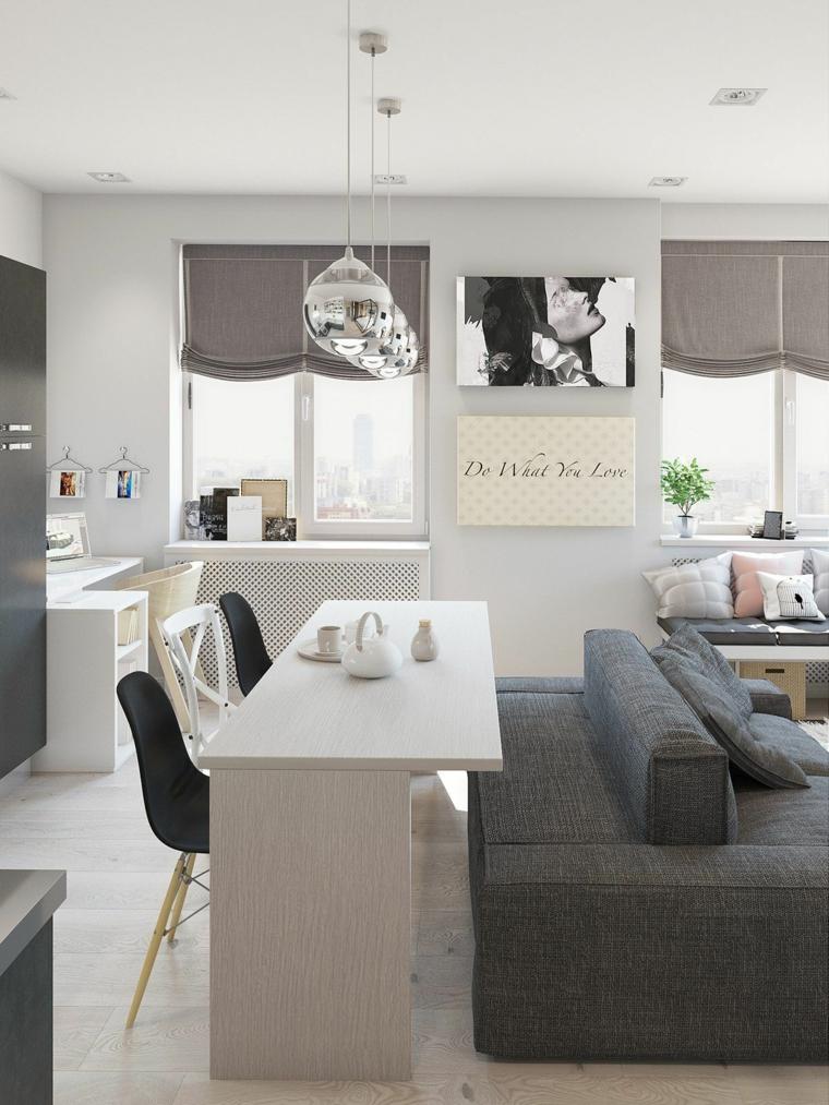arredare appartamento piccolo cucina open space soggiorno salotto con divano grigio
