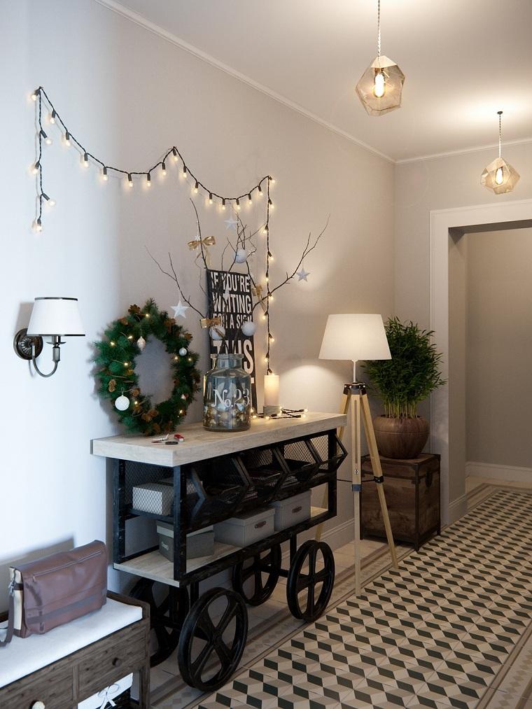 arredare corridoio lungo mobile tavolo con ruote decorazione da parete con filo di lucine