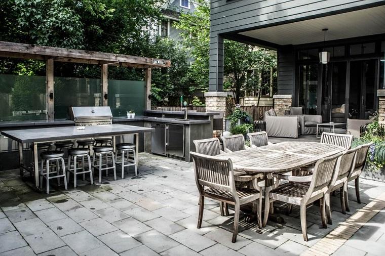 arredare cucina area aperta set mobili esterno