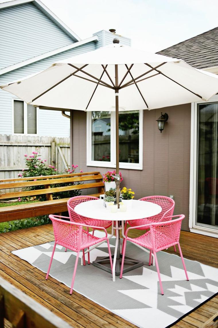 arredare giardino set mobili metallo colore rosa