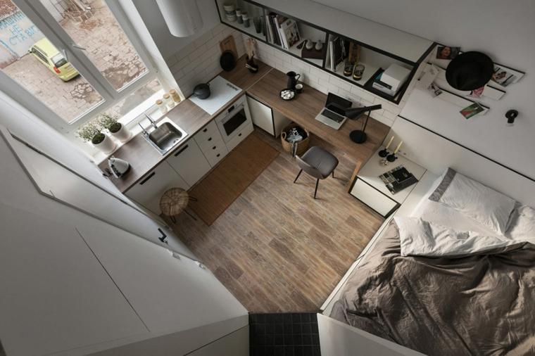 arredare mini appartamento monolocale con cucina ad angolo paraschizzi in piastrelle bianche