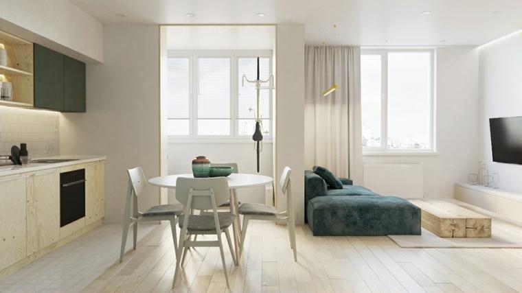 arredare piccoli spazi soggiorno con divano verde cucina con ante di legno