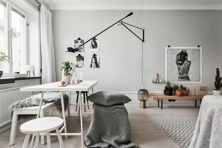 arredare soggiorno mobili colore bianco alcuni inserti legno