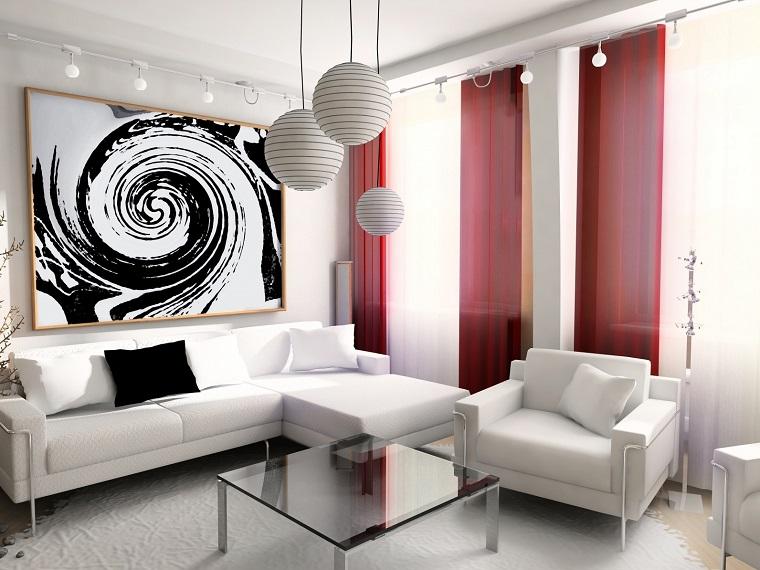 arredare soggiorno mobili colore bianco illuminazione particolare