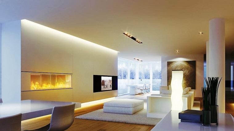 arredare soggiorno stile moderno camino originale