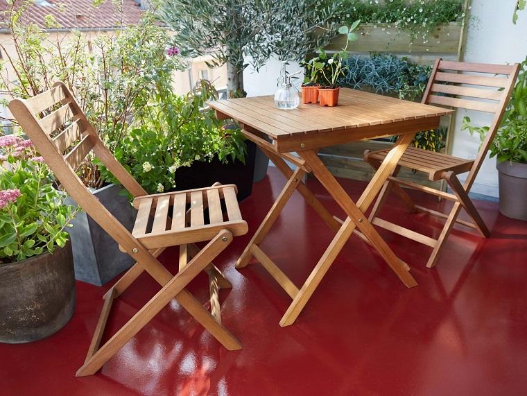 arredo balcone set mobili legno semplici