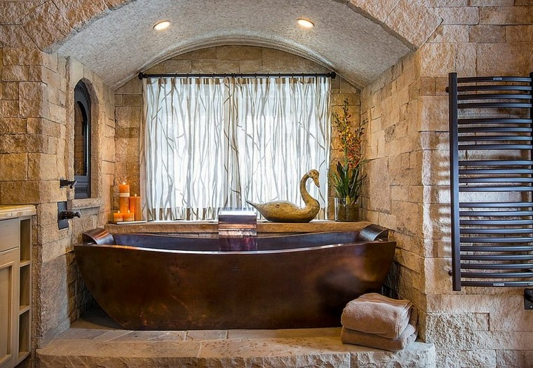 bagno design stile rustico vasca rame