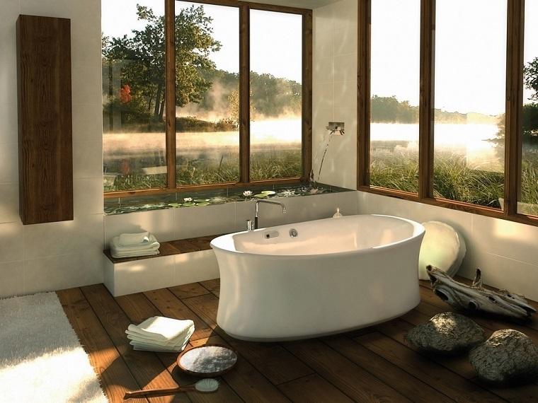 bagno moderno rustico vasca colore bianco