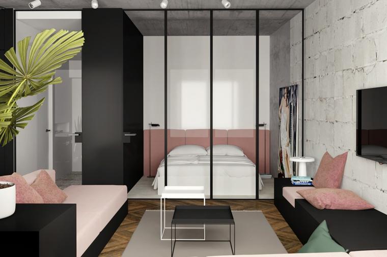 camera da letto separata con vetro divano con cuscini rosa pavimento in legno con tappeto