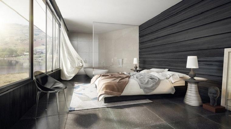 camera letto arredata stile moderno bagno padronale vista