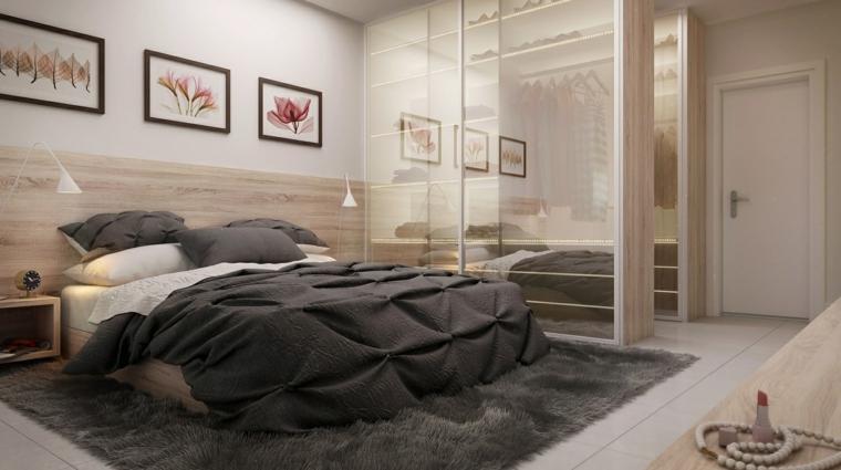 camere da letto moderne biancheria tappeto colore grigio