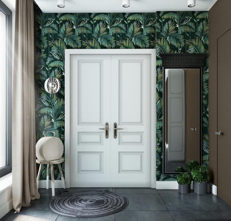 carta da parati motivi floreali come arredare un ingresso piccolo scarpiera a muro con specchio