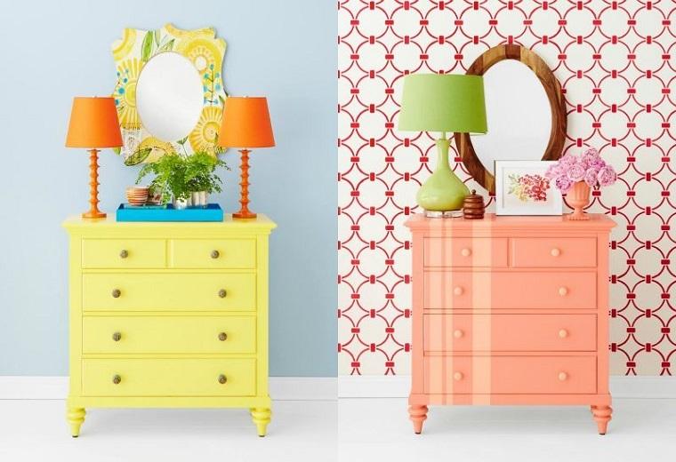 cassettone idee colorate rosa giallo