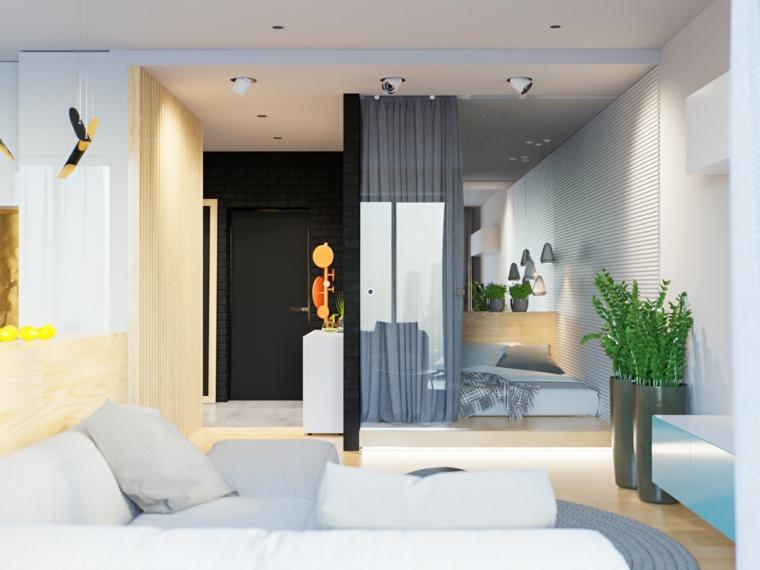come arredare case piccole open space soggiorno camera da letto pavimento in legno parquet