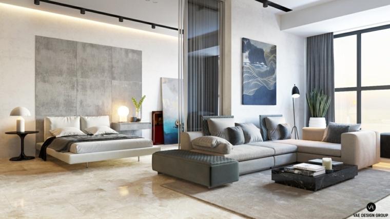 come arredare case piccole salotto con divano camera da letto open space