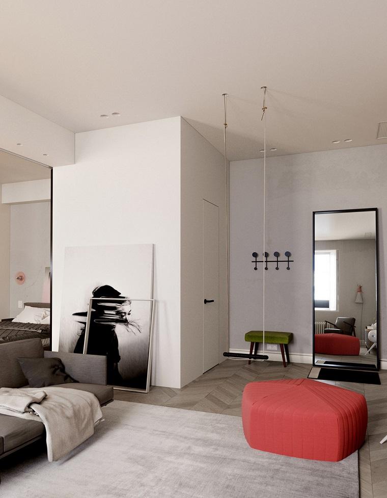 come arredare mini appartamenti soggiorno con armadio a muro pavimento in parquet con tappeto