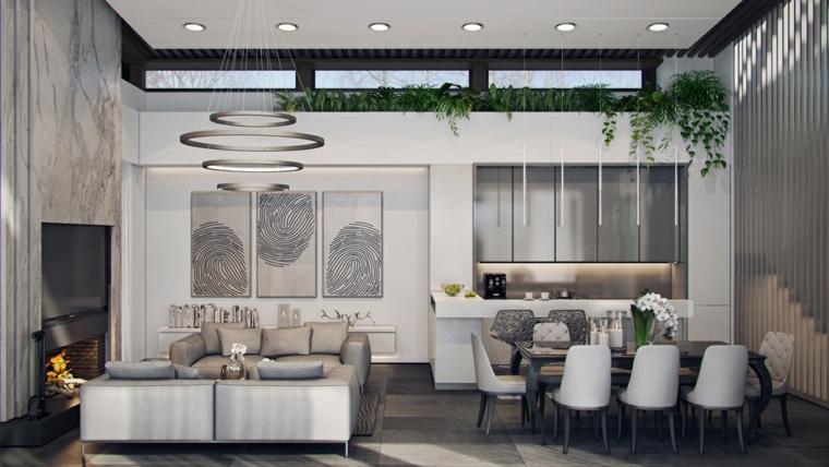 Esempi arredamento moderno, salotto con due divani di colore beige, open space salotto e cucina