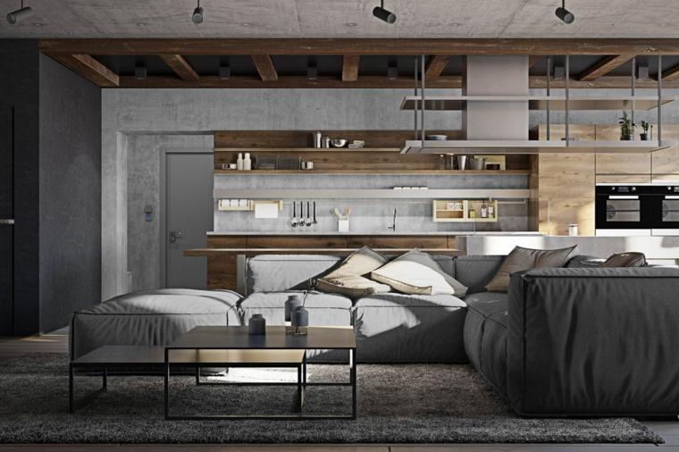 Saloni moderni, open space con cucina e soggiorno, divano angolare di tessuto colore grigio