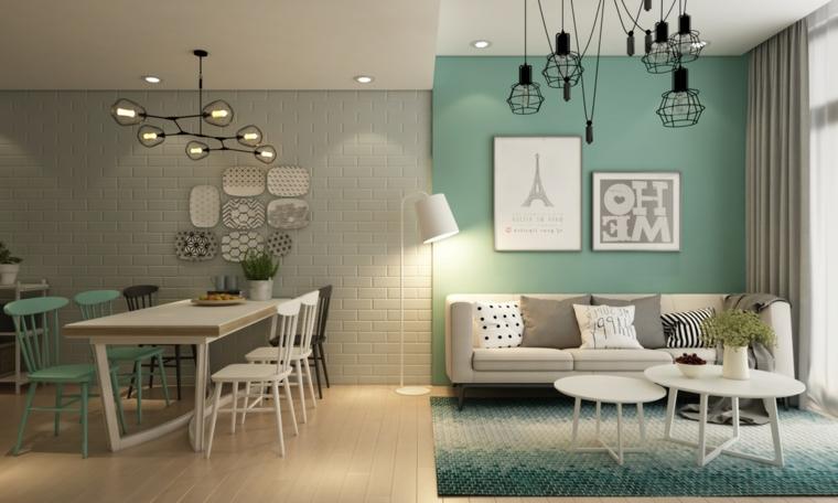 Soggiorni moderni componibili, sala da pranzo e soggiorno insieme, parete dipinta di colore verde Tiffany