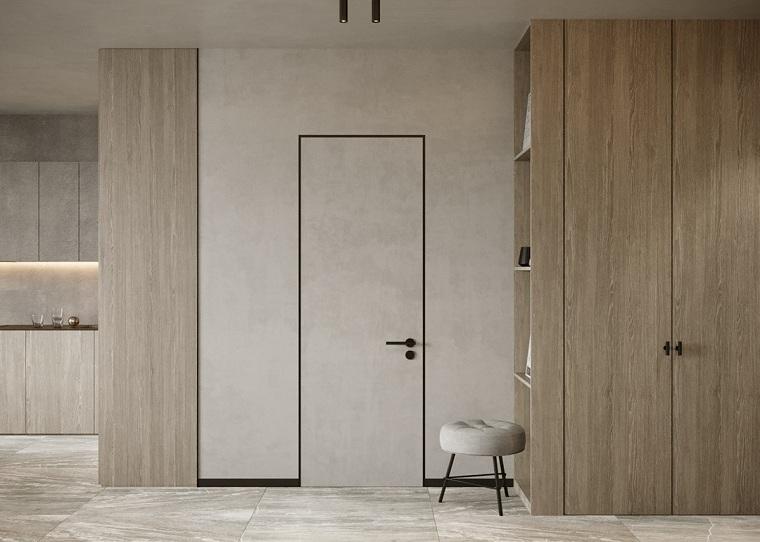 come arredare un ingresso armadio a muro con scaffali aperti pavimento in piastrelle di marmo