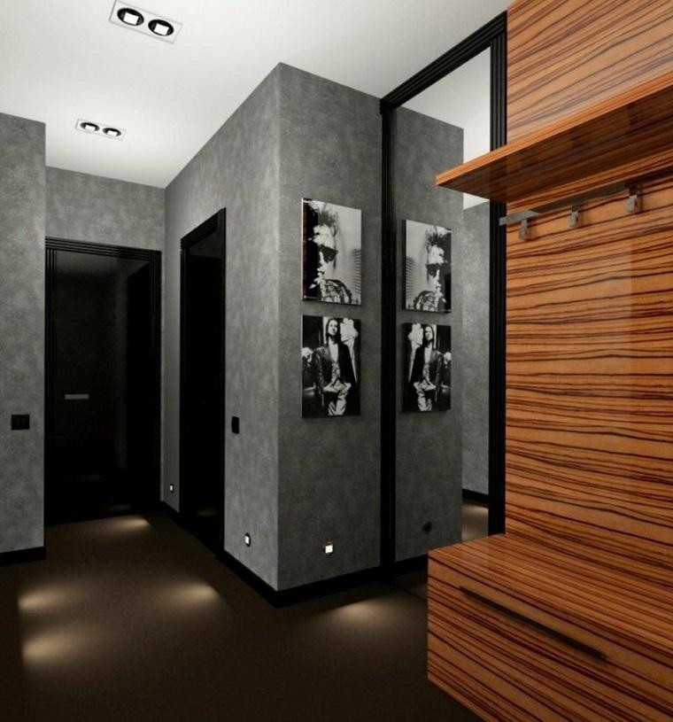 come arredare un ingresso mobile di legno appendiabiti con mensola pavimento con luci