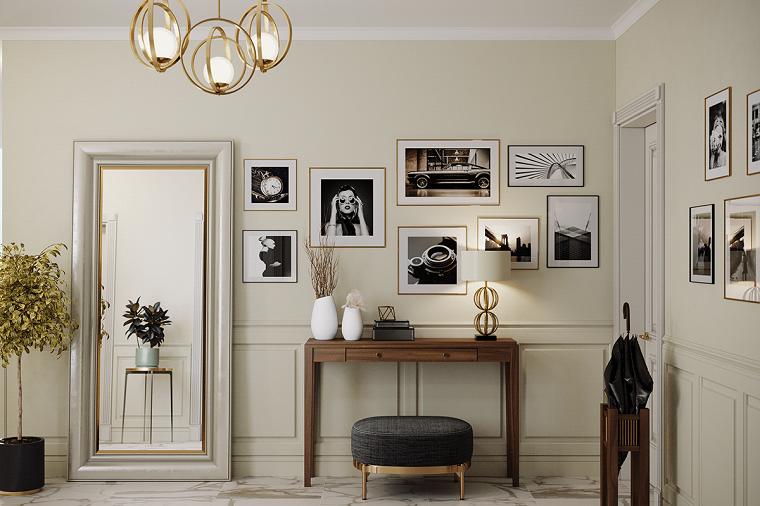 come arredare un ingresso mobile tavolo di legno decorazione parete con fotografie