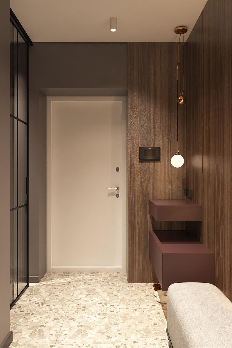 come arredare un ingresso piccolo e buio amradio a muro con specchi mobile appeso illuminazione con faretti