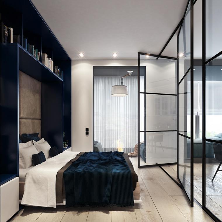 come arredare un monolocale camera da letto con porta di vetro letto a ponte con scaffali aperti