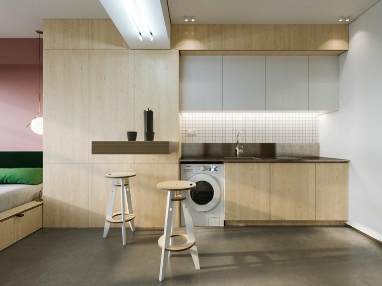 come arredare un monolocale di 30 mq cucina con ante di legno sopplaco con letto
