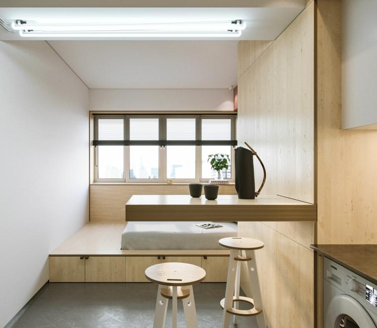 come arredare un monolocale di 30 mq cucina con isola laterale letto su un soppalco