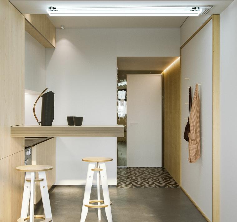 come arredare un monolocale di 30 mq cucina con isola laterale pareti con pannelli di legno