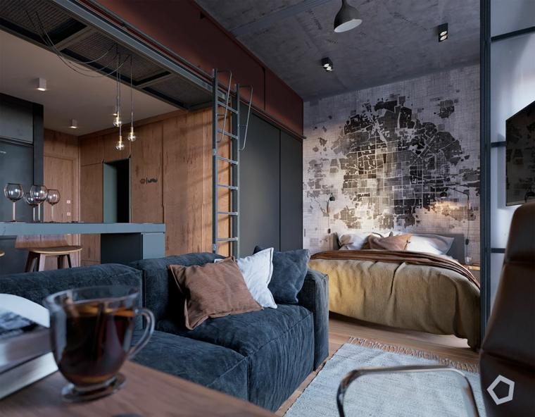 come arredare un monolocale di 35 mq con soppalco loft open space soggiorno con divano blu