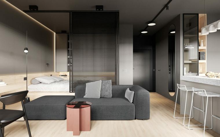 come arredare un monolocale di 35 mq con soppalco open space soggiorno e cucina divano grigio con cuscini