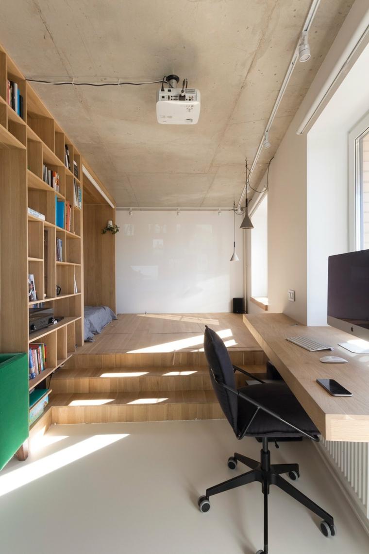 come arredare un monolocale di 50 mq zona studio con scrivania sospesa zona notte su soppalco